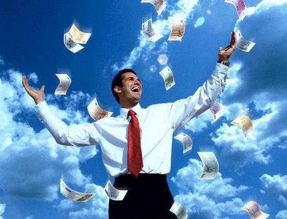 04 Jun 2001 --- Happy money man --- Image by © Thomas Röpke/CORBIS